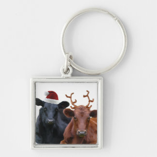 Christmas Holiday Cows in Santa Hat and Antlers Silver-Colored Square Key Ring