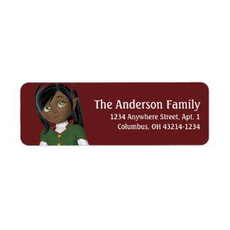 Christmas Holiday Dark Skin Elf - Christmas Return Address Label