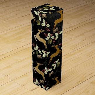 Christmas Holiday - Deer & Holly Wine Box