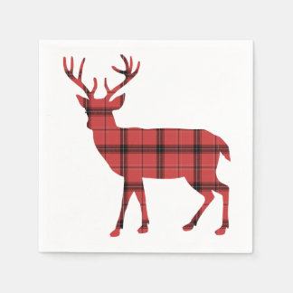 Christmas Holiday Deer Red Plaid Tartan Pattern Disposable Napkin