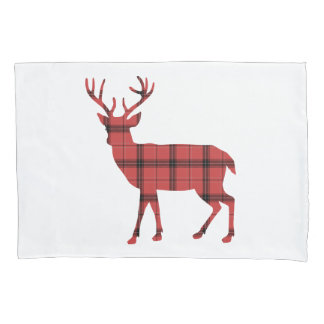 Christmas Holiday Deer Red Plaid Tartan Pattern Pillowcase