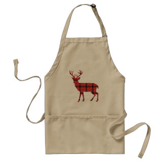 Christmas Holiday Deer Red Plaid Tartan Pattern Standard Apron