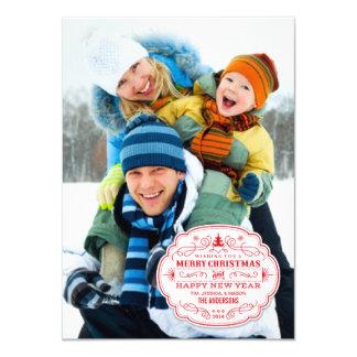 "Christmas Holiday Fun Full-Bleed Flat Photo Card 4.5"" X 6.25"" Invitation Card"