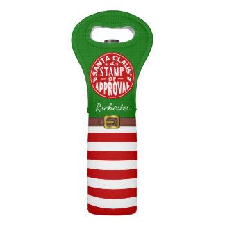 Christmas Holiday Funny Santa Claus Stamp | Name Wine Bag