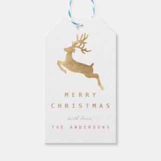 Christmas Holiday Gift Tag White Gold Reniadeer