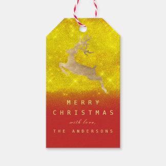 Christmas Holiday Gift Tag Yellow RedGold Reindeer