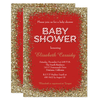 Christmas Holiday Glitter Baby Shower Invitation