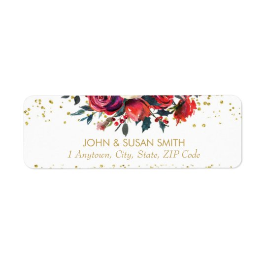 Christmas holiday glitter return address labels