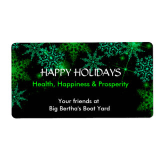 Christmas, Holiday, Green and White Wine Label