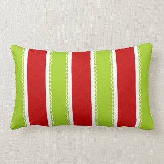 Christmas Holiday Green & Red Stripes Pattern Lumbar Pillow