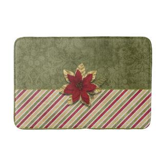 Christmas Holiday - Green Stripes & Poinsettia Bath Mat