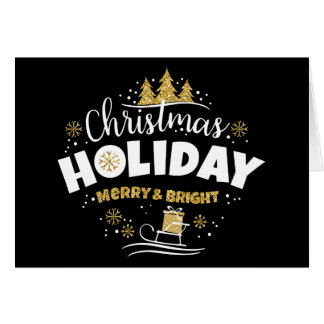 Christmas Holiday - Happy Holiday Black BkGrnd Card