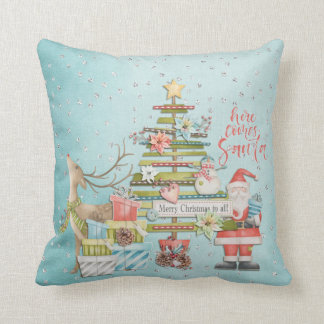 Christmas Holiday - Here Comes Santa Cushion