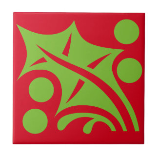 Christmas Holiday Holly Berry Red Green Tile