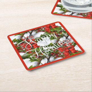 Christmas Holiday Holly Leaves Red Berries Pattern Square Paper Coaster
