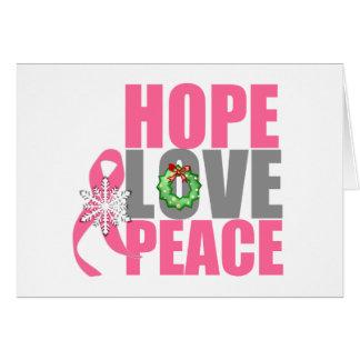 Christmas Holiday Hope Love Peace Breast Cancer Card