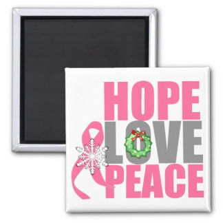 Christmas Holiday Hope Love Peace Breast Cancer Fridge Magnet