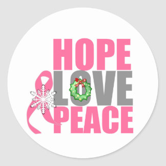 Christmas Holiday Hope Love Peace Breast Cancer Round Sticker