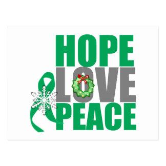Christmas Holiday Hope Love Peace Liver Cancer Postcard