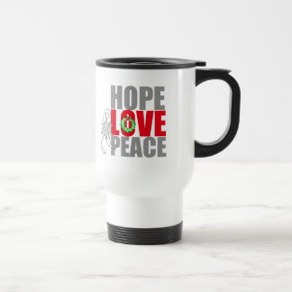 Christmas Holiday Hope Love Peace Lung Cancer Coffee Mug