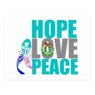Christmas Holiday Hope Love Peace Thyroid Cancer Postcard