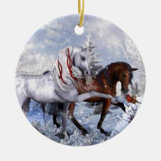 Christmas Holiday Horses Round Ceramic Decoration