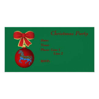 Christmas Holiday Invitation Carousel Horse Bow Personalized Photo Card