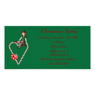 Christmas Holiday Invitation Cute Girl Elf Heart Personalized Photo Card