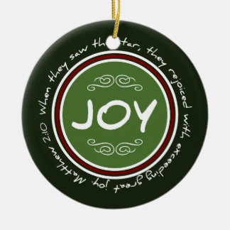 Christmas Holiday Joy Bible Verse Round Ornament