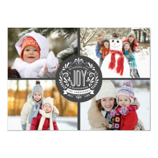 CHRISTMAS HOLIDAY JOY CHALK ART 4-PHOTO GREETING 11 CM X 16 CM INVITATION CARD