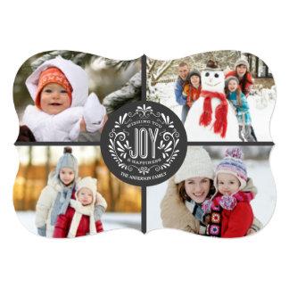 CHRISTMAS HOLIDAY JOY CHALK ART 4-PHOTO GREETING 13 CM X 18 CM INVITATION CARD