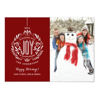 CHRISTMAS HOLIDAY JOY CHALK ART PHOTO CARD RED 11 CM X 16 CM INVITATION CARD