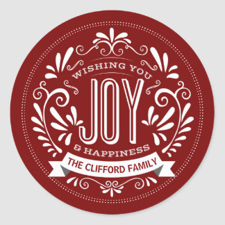 CHRISTMAS HOLIDAY JOY ROUND CHALK ART STICKERS