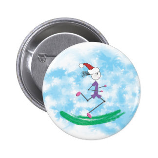 Christmas Holiday Lady Runner © 6 Cm Round Badge