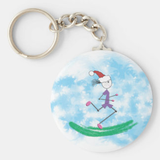 Christmas Holiday Lady Runner Keychain