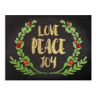 CHRISTMAS HOLIDAY LOVE PEACE JOY WREATH POSTCARD