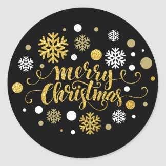 Christmas Holiday - Merry Christmas Shimmer Classic Round Sticker