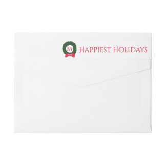 Christmas Holiday Monogram Festive Wreath Custom Wrap Around Label