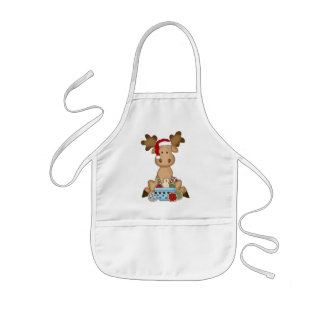 Christmas Holiday Moose kids apron