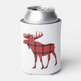 Christmas Holiday Moose Red Plaid Tartan Pattern Can Cooler