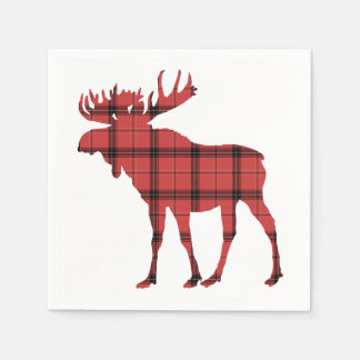 Christmas Holiday Moose Red Plaid Tartan Pattern Paper Napkins