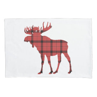 Christmas Holiday Moose Red Plaid Tartan Pattern Pillowcase