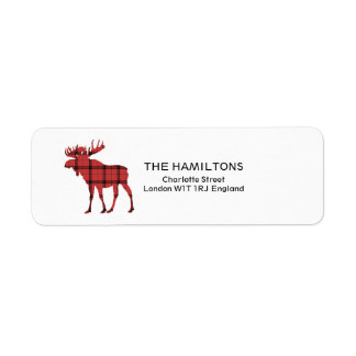 Christmas Holiday Moose Red Plaid Tartan Pattern Return Address Label