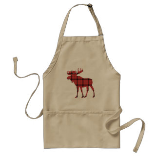 Christmas Holiday Moose Red Plaid Tartan Pattern Standard Apron