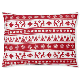 Christmas Holiday Nordic Pattern Cosy Pet Bed