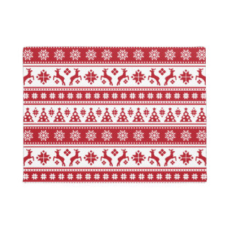 Christmas Holiday Nordic Pattern Cozy Doormat