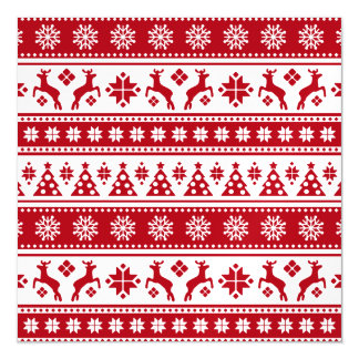 Christmas Holiday Nordic Pattern Cozy Magnetic Invitations