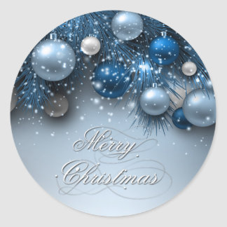 Christmas Holiday Ornaments - Blues Round Sticker