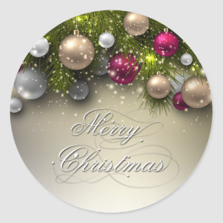 Christmas Holiday Ornaments - Multi Classic Round Sticker