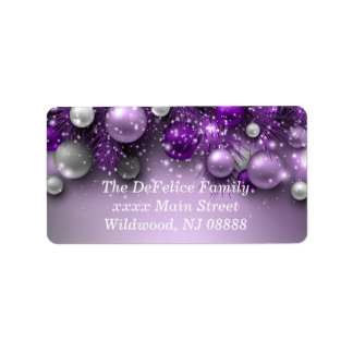 Christmas Holiday Ornaments - Purples Address Label